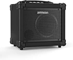 ammoon Electric Guitar Amplifier 10 Watt Portable Amp BT Speaker Supports Clean/Distortion Modes AUX IN Gain Bass Treble Volume Control, Dual-Powered Guitar Amp for Beginners- Black