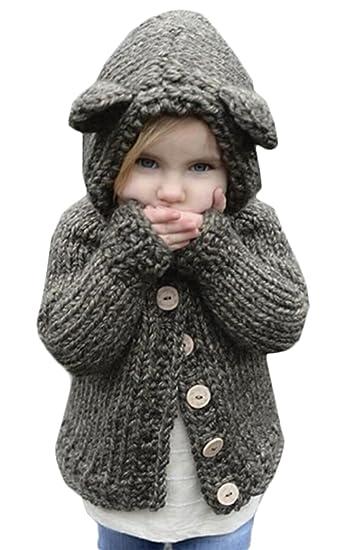 8e20f69c0ebd5 Kids Baby Girls Winter Warm Wool Knit Sweater Cartoon Hooded Coats Jackets