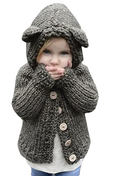 3e5098415 Amazon.com  Kids Baby Girls Winter Warm Wool Knit Sweater Cartoon ...