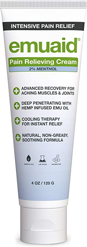 EMUAID® Pain Relieving Cream 4oz - Relief for aching muscles, shoulder, neck joint, lower back aches, hip, knee joints, leg, feet, nerve pain, inflammation, sciatica, and arthritis.