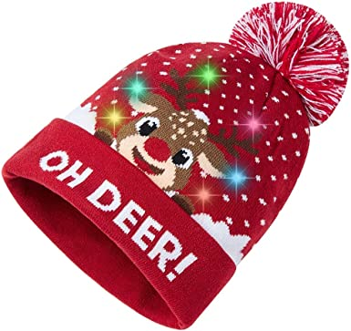 Christmas Reindeer Head Beanies Knit Hat Skull Caps Men Pink