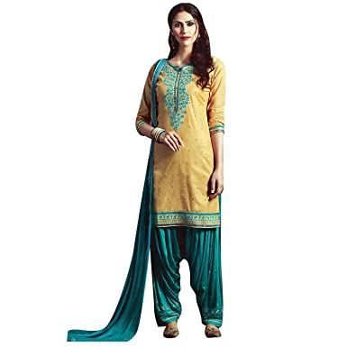 716261fef6 Ladyline Patiala Salwar Kameez Embroidered Womens Indian Dress Ready to wear  Salwar Suit: Amazon.co.uk: Clothing