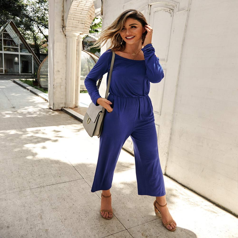 NewPinky Fashion Womens Casual Jumpsuit Early Autumn 2019 Solid Color Slashneck Sports Jumpsuit