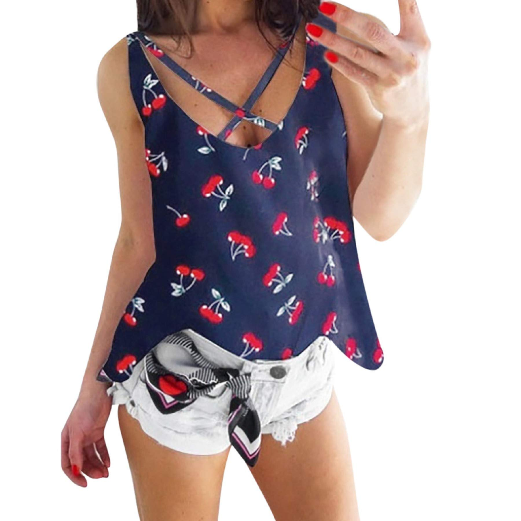 Women's Floral Print V Neck Sleeveless Camis Tops Ladies Casual Summer Criss Cross Blouse Tank Top Vest Navy