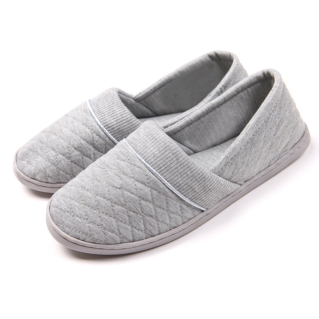 ChicNChic Women Comfort Cotton Soft Sole Indoor Slippers Anti-Slip House Shoes Grey 7 B(M) US