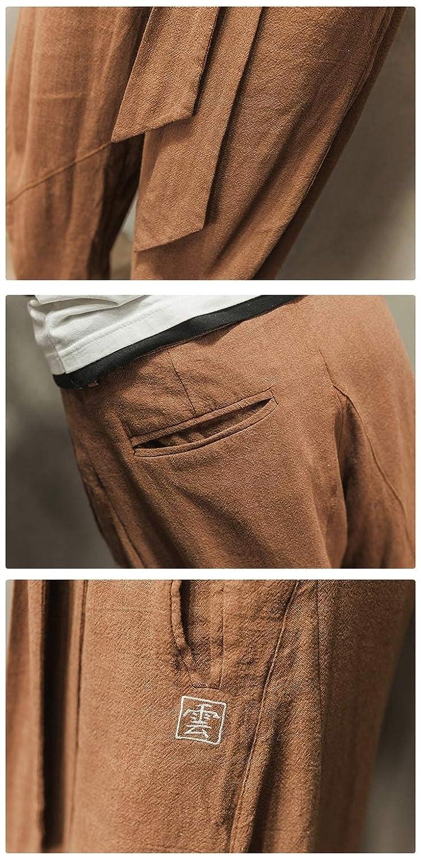 HEFASDM Mens Summer Oversize Linen Embroidery Ethnic Style Pants