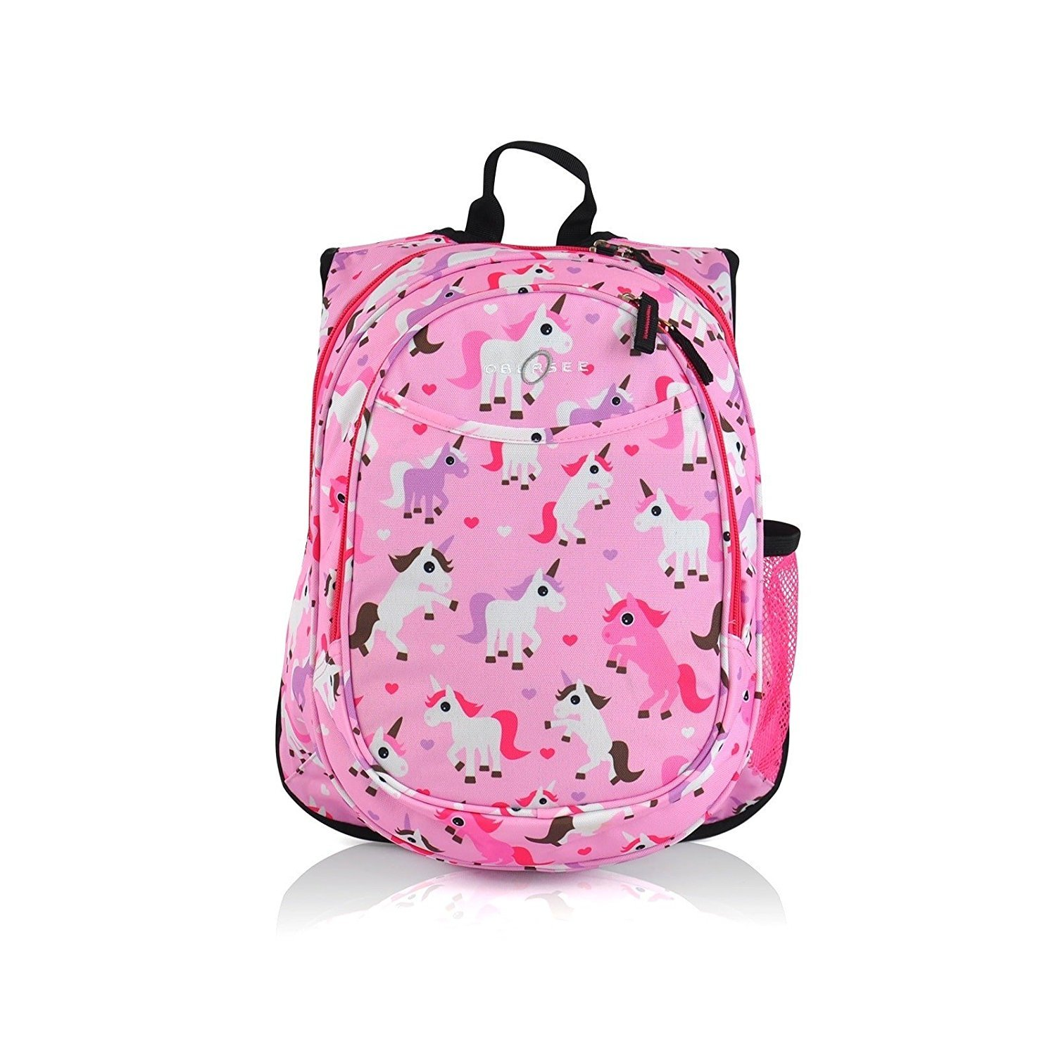 1pc Kids Unicorn Pink Purple Backpack, Fantasy Fun, Polyester, Spacious Mesh Cooler School Bag, Red Hearts Strap Back Harts