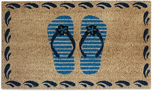A1 HOME COLLECTIONS Doormat Flip Flops Bleach Printed Coir Door Mat, 18 x30 , Blue,Beige