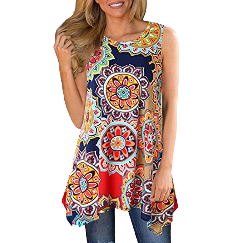 Women Sleeveless Ladies Summer Casual Camisole Tank Tops Boho Print Irregular Hem Asymmetrical Loose Tunic Cami Vest Tops Blouse Jumper Sale Clearance Sweatshirts Womens Teen Girls