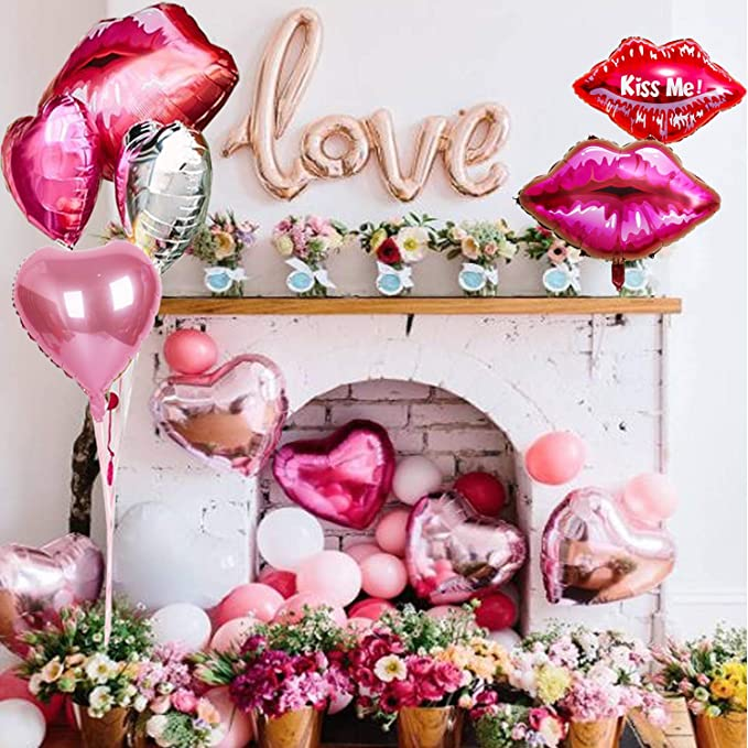 Valentine's Day Champagne Bar Party Decorations Love Balloon Set -LOVE Foil balloon,Lip Balloons, Heart Foil Balloons, Latex balloons, Gift Idea and Supplies for Mimosa Bar/Bachelorette/Wedding/bubbly bar Décor
