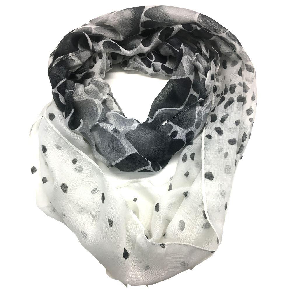 Top Fashionland Premium Soft Rock Fade Sheer Infinity Scarf White/Black