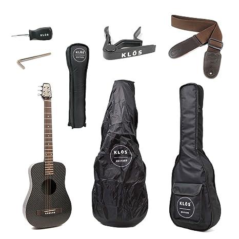 KLOS Paquete de guitarra eléctrica acústica de viaje, de fibra de carbono, color negro