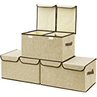 Large Storage Boxes [3-Pack] EZOWare Large Linen Fabric Foldable Storage Cubes Bin Box Containers with Lid and Handles…