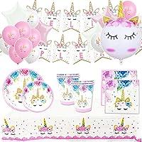 Pack Cumpleaños Unicornio para Infantil Niña y Adultos Mujer-Set de Decoración Cumpleaños con Globos,Guirnalda Feliz…