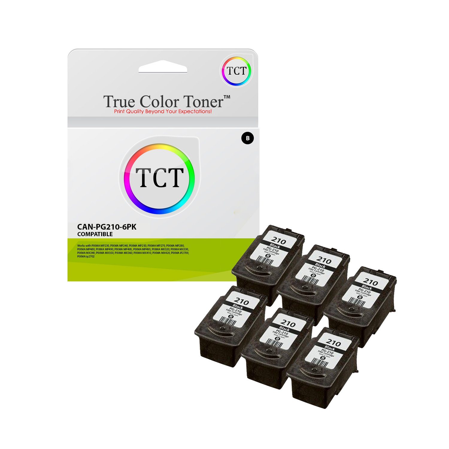 True Color Toner PG-210 6 Pack PG210 Black High Yield Compatible Ink Replacement for Canon Pixma MP240 MP250 MP270 MP280 MP495 MX320 MX330 MX340 MX350 MX410 MX420 iP2700 iP2702 Printers (400 Pages)