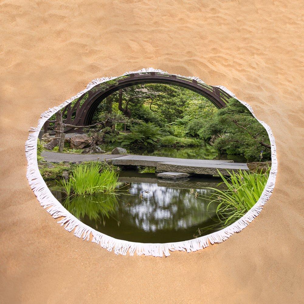 Pixels Round Beach Towel With Tassels featuring ''Moon Bridge Vertical - Japanese Tea Garden'' by Adam Romanowicz