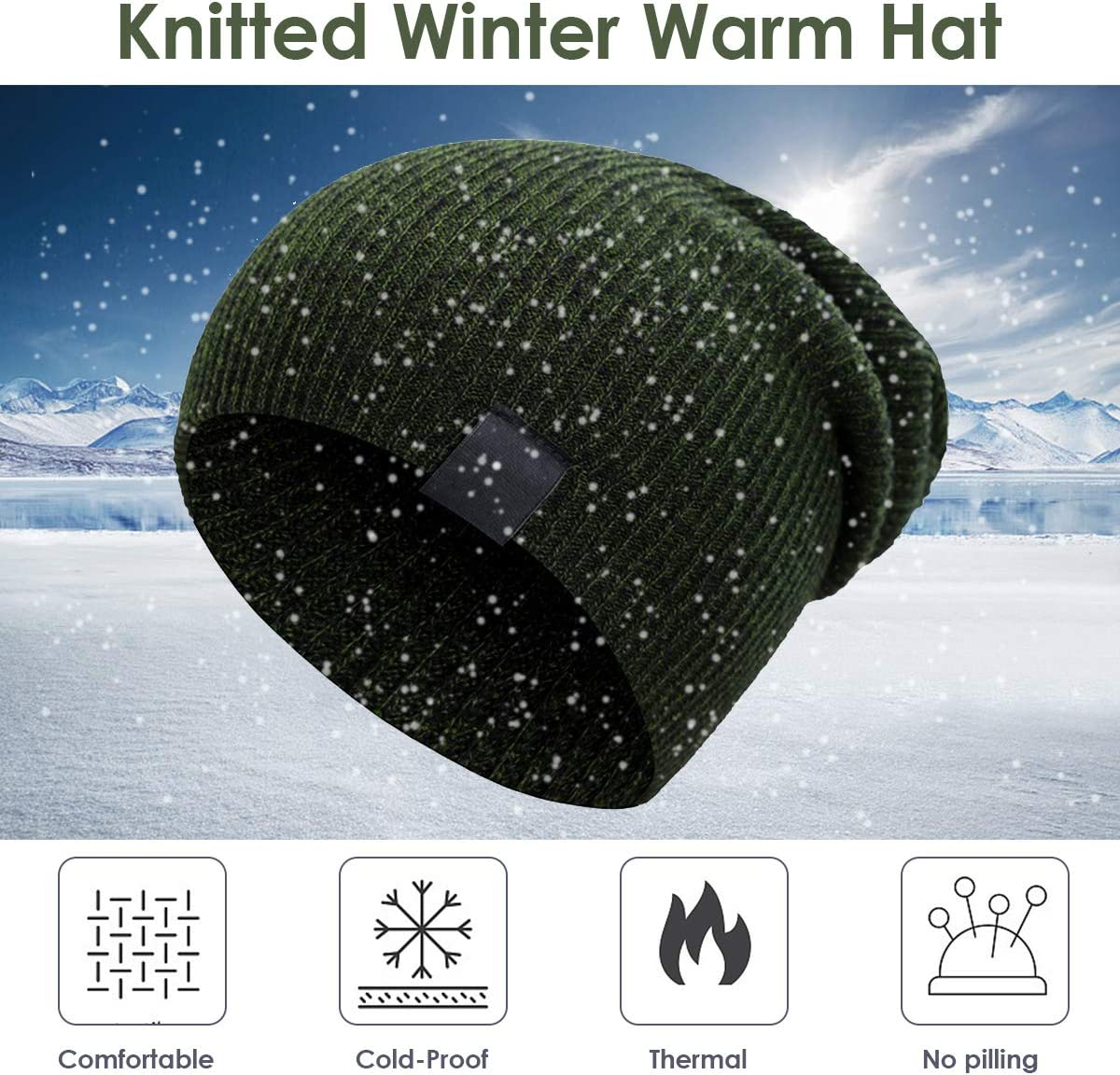 Outdoor Baggy Beanie Cap Slouchy Ski Cap for Cycling Running Walking Rehomy Unisex Winter Warm Knit Hat