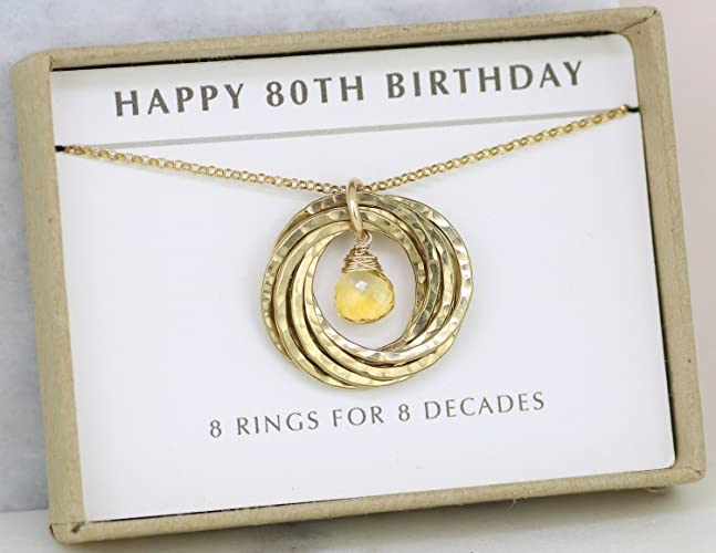 80th Birthday Gift For Her November Grandma Citrine Jewellery