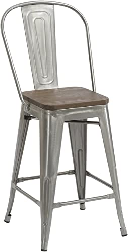 BTEXPERT Vintage Antique Style Brush Counter Height Bar Stool Chair High Back Wood top seat, 24 inch, Clear Distress Metal