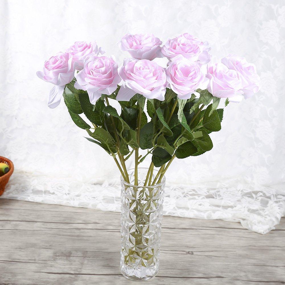 Yosoo 10 Pi/èces Rose 17.7 Pouces Mat/ériau Premium Real Touch Roses Artificielles Fleurs pour la F/ête De Mariage D/écoration