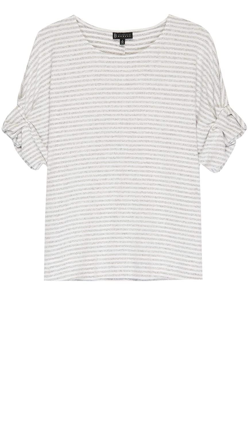303a834d2 Bobeau Laney Roll Sleeve Stripe Tee at Amazon Women's Clothing store: