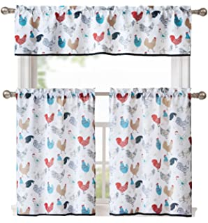 GoodGram Multi Rooster Complete 3 Pc Kitchen Curtain Tier U0026 Valance Set    Assorted Colors