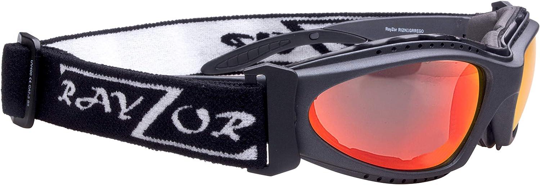 avec Un 1 Piece ventil/é Bleu Iridium Miroir Anti-/éblouissement Lens. Rayzor Professionnel l/éger UV400 Noir Sport Wrap P/ÊCHE Lunettes de Soleil