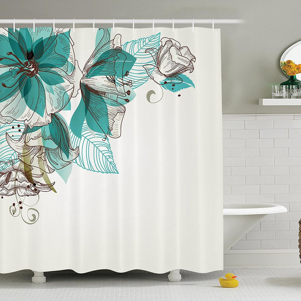 Kipten Tropical Green Plant Cactus Flower Shower Curtain Long 72x72 inch Anti-Ultraviolet Polyester Fabric Bathroom Shower Curtain Exquisite Decoration