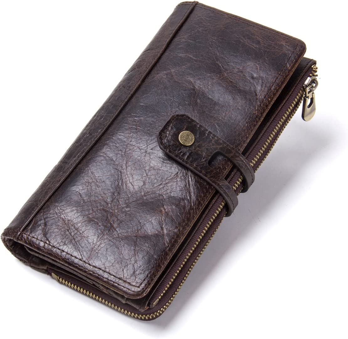 Contacts Real Leather Men Secretary Checkbook Phone Holder Purse Zipper Wallet (Coffee)