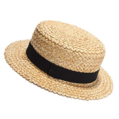 Amazon.com  Natural Straw Sun Hat for Women Men Fashion Beach Hats Ladies  Flat Sunhat for Holiday  Clothing 0505466f946
