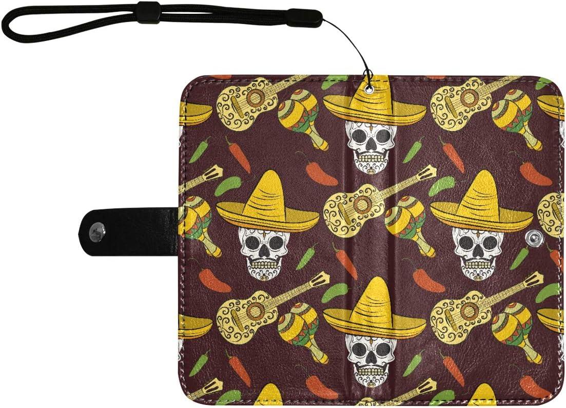 Cartera de cuero con tapa de cuero Funda para teléfono Calaveras mexicanas Estuches para teléfono con tapa de guitarra con ranuras para tarjetas Correa para la muñeca Cartera de cuero de la PU para