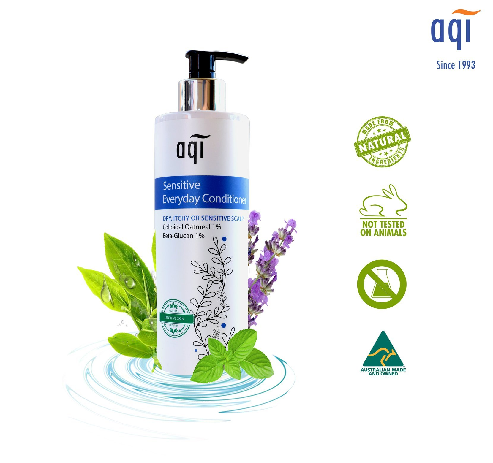 Sensitive, Itchy & Dry Scalp Conditioner 16.9 fl oz - Moisturizing, Vegan & Natural Hair Conditioner for Men & Women - Paraben, Sulphate & Fragrance Free Conditioner - Made in Australia By AQI