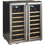 Wine Enthusiast 272 48 02 51W Silent 48 Bottle Double Door Dual Zone Wine Refrigerator, Stainless Steel