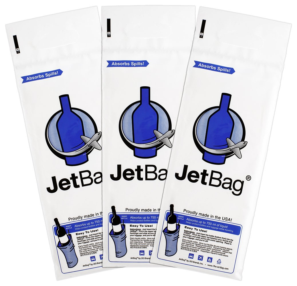 Jet Bag Bold - The Original ABSORBENT Reusable & Protective Bottle Bags - Set of 3 - MADE IN THE USA by JetBag