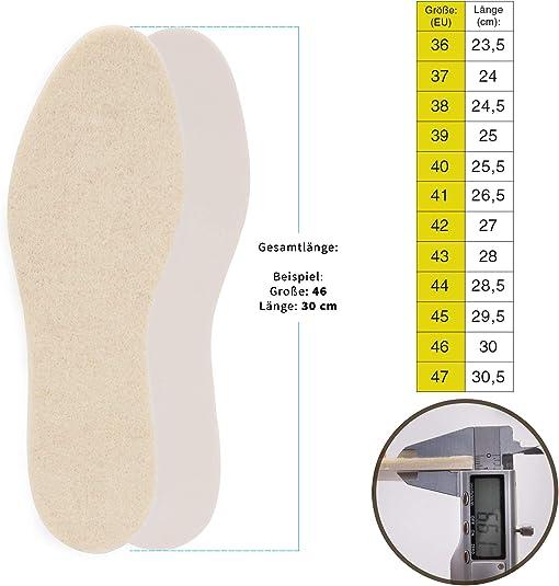 Laine et aluminium Taille 36-46 Semelles thermiques pour chaussures dhiver SULPO Lot de 2 paires de semelles int/érieures en laine de mouton