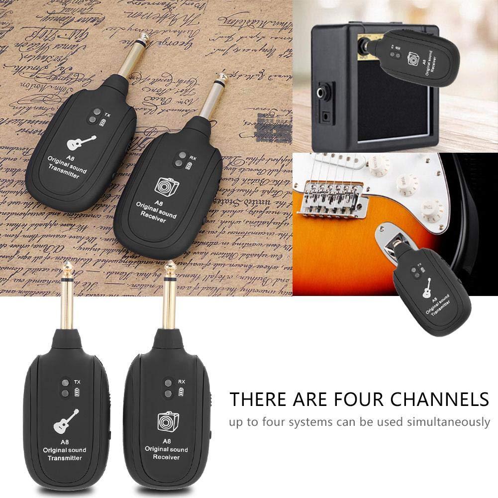 UHF Wireless Guitar Transmitter Receiver,USB Audio Transmission System Set 4 Channels,50M Transmission Range,for Electric Guitar Bass Violin