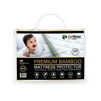 """Margaux /& May Bamboo Waterproof Crib Mattress Protector Fitted 52/"""" x 28/"""""""