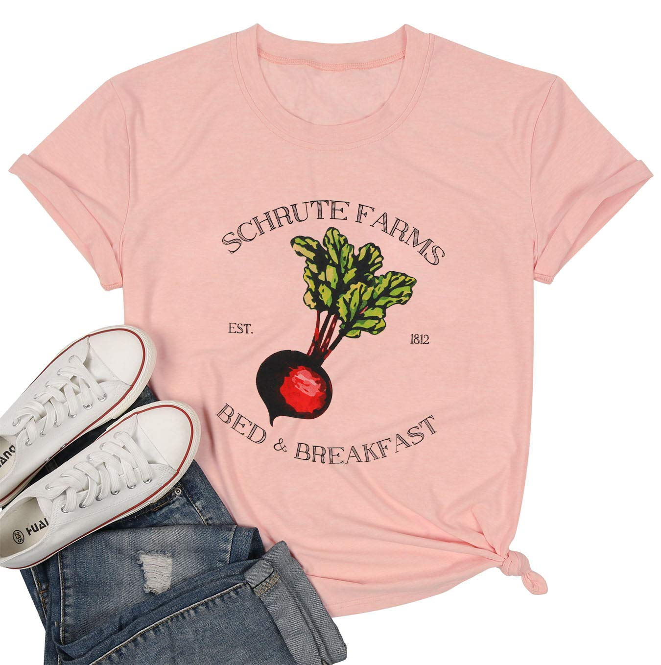 NANYUAYA Women Schrute Farms Beets Printed Funny T Shirt Cute Graphic Casual Short Sleeve Tees Blouse