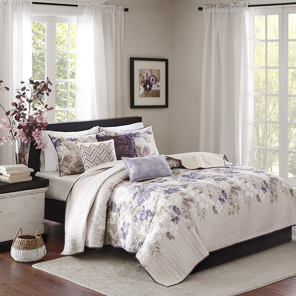 Madison Park Luna King/Cal King Size Quilt Bedding Set - Taupe, Purple, Floral, Leaf – 6 Piece Bedding Quilt Coverlets – Ultra Soft Microfiber with Cotton Filling Bed Quilts Quilted Coverlet