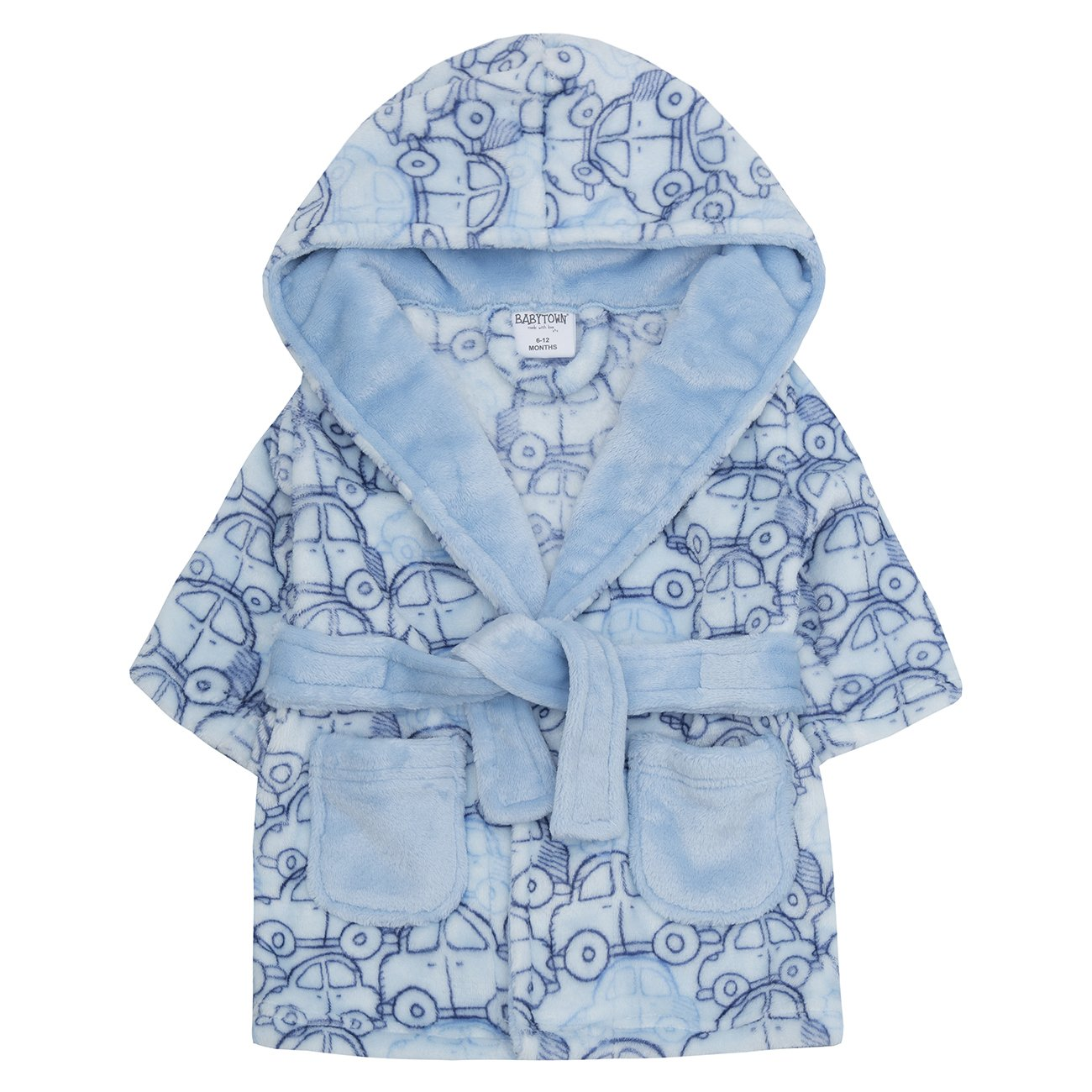 BABY TOWN Newborn Baby Boys Dressing Gown - Blue Car Flannel Fleece Hooded Bathrobe Babytown