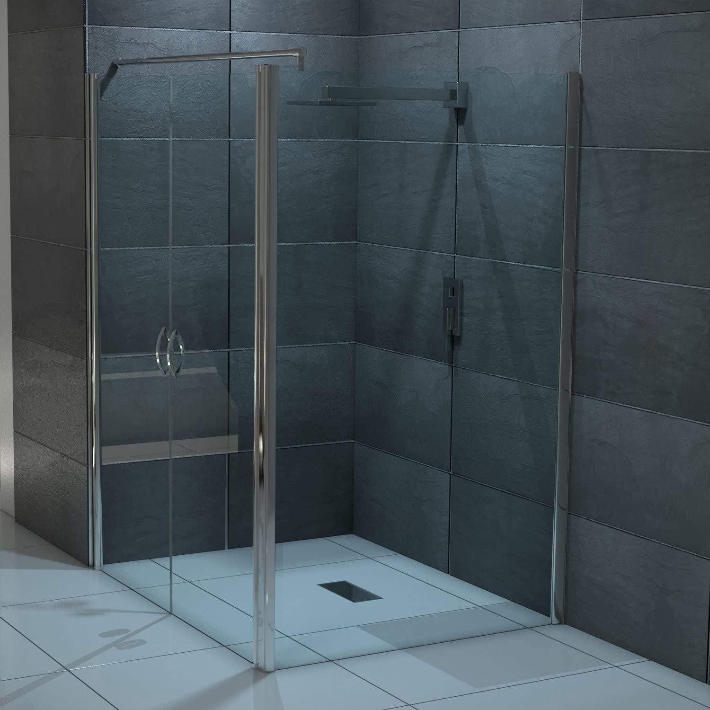 Mampara de ducha de cristal con puerta abatible - 70-130 cm x 195 cm + panel lateral de 70-120 cm x 195 cm, 125 x 90 x 195cm: Amazon.es: Hogar
