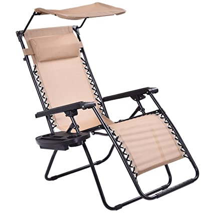 Ordinaire Goplus Zero Gravity Canopy Sunshade Lounge Chair Cup Holder Patio Outdoor  Garden Beige (1)