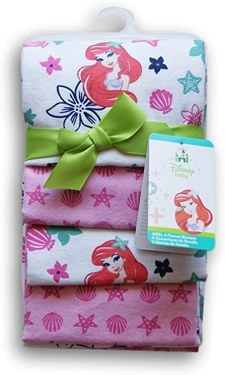 Ariel Sea Treasures Flannel /& Plush Blanket by Disney Baby The Little Mermaid