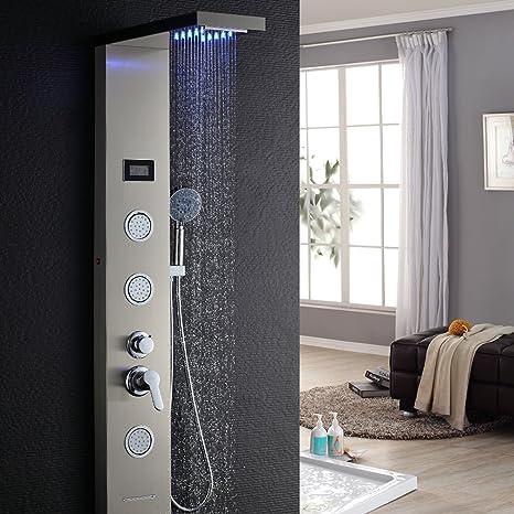 Columna hidromasaje para ducha con LED Alcachofas + LCD Pantalla de temperatura + 5 salida de agua,color plateado: Amazon.es: Hogar