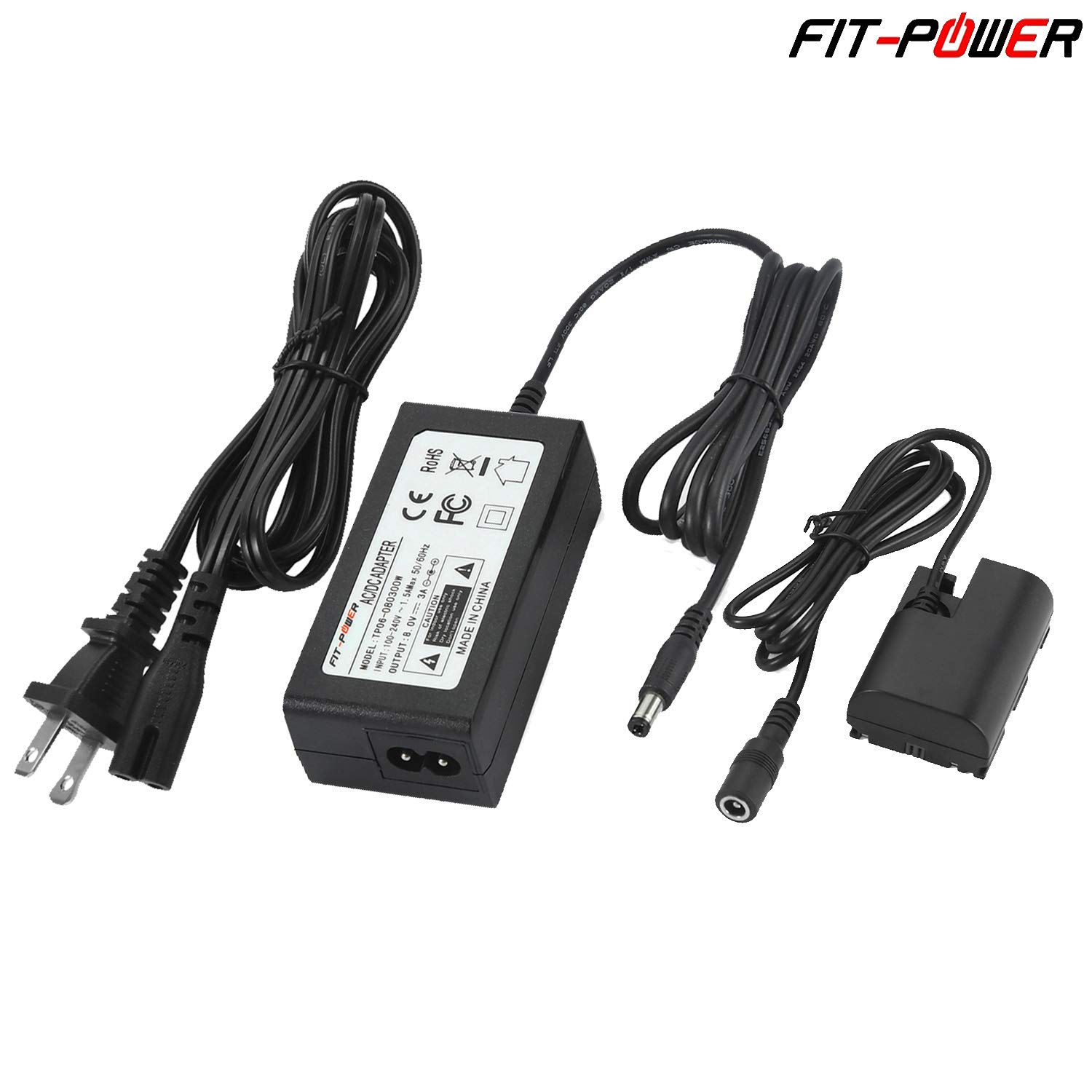 FIT-POWER ACK-E6 Repalcement AC Power Adapter kit for Canon EOS 5DS, 6D, 7D, 60D, 70D, 60Da, 5D Mark II III IV, 7D Mark II, 5DS R, Fully-Decode LP-E6 LP-E6N Battery LC-E6 LC-E6E Charger