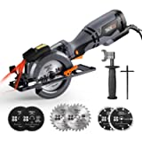 "TACKLIFE Circular Saw with Metal Handle, 6 Blades(4-3/4' & 4-1/2""), Laser Guide, 5.8A, Max Cutting Depth 1-11/16'' (90…"