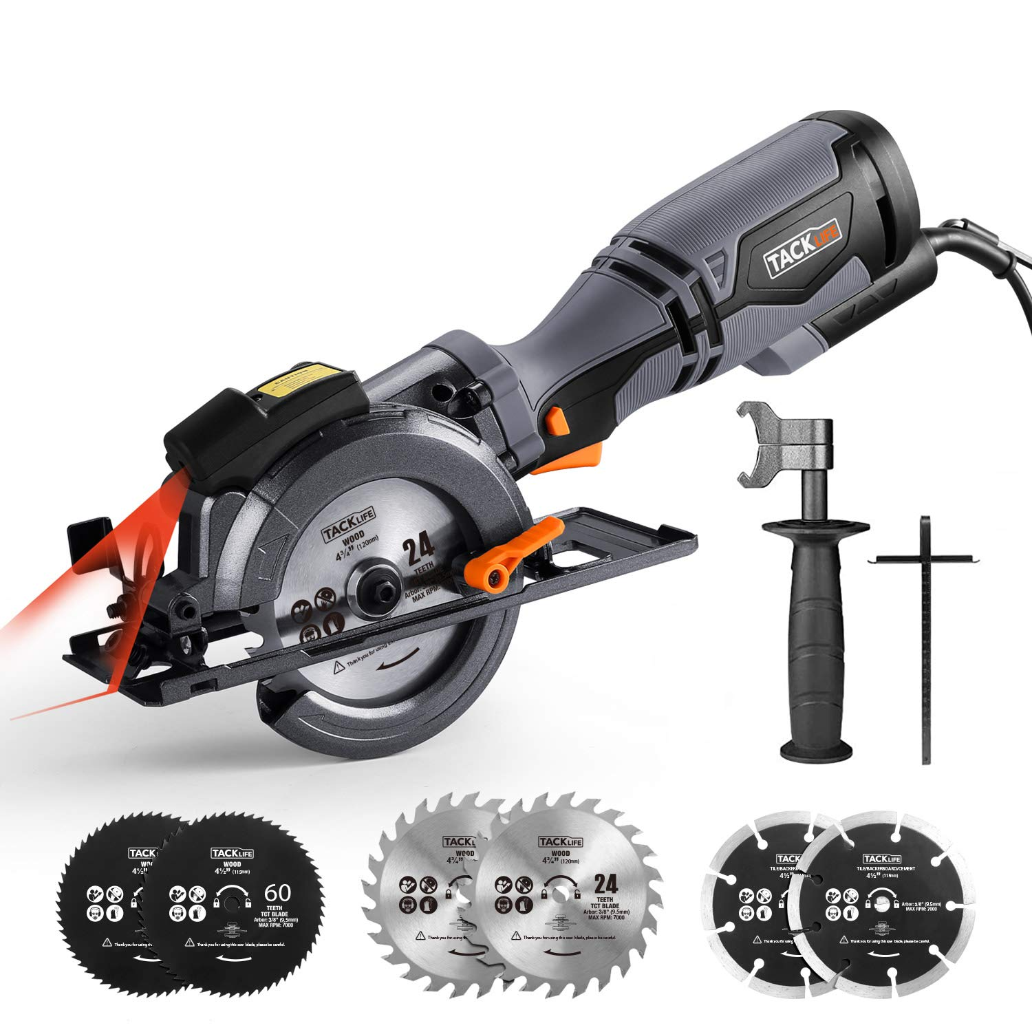 """TACKLIFE Circular Saw with Metal Handle, 6 Blades (4-3/4"""" & 4-1/2""""), Laser, 5.8A, Cutting Depth 1-11/16'' (90°), 1-3/8'' (45°), Corded Circular Saw for Wood, Soft Metal, Tile, Plastic Cuts - TCS115A"""