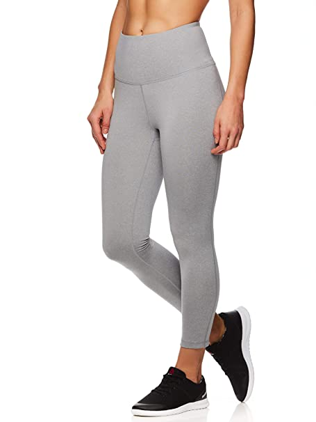 Reebok Women's Capri Leggings w/High-Rise Waist - Performance Compression Tights - Grey Heather, X-Small