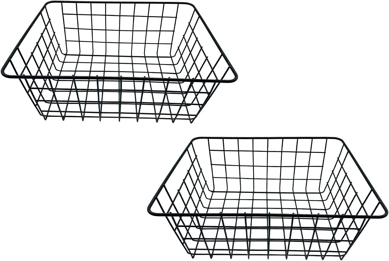 2 Pack Iron Storage Basket Stand Small Size For Home Office Metal Storage Organizer Basket (black, 2 Pack)