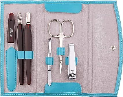 Set manicura de 6 piezas - Set de manicura y pedicura (tijeras, cortaúñas, limas para uñas, etc.) en estuche de piel sintética, color turquesa: Amazon.es: Belleza